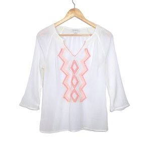Banana Republic Embroidered White Boho Peasant Top